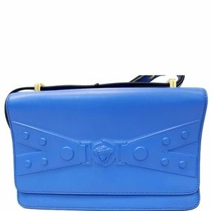 VERSACE Tribute X Leather Shoulder Bag Blue